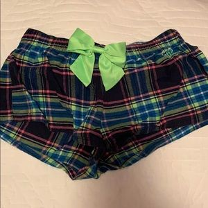 Plaid flannel sleeping shorts